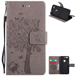 Embossing Butterfly Tree Leather Wallet Case for Google Pixel - Grey