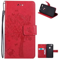Embossing Butterfly Tree Leather Wallet Case for Google Pixel - Red