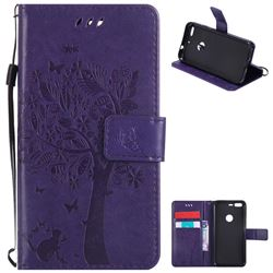 Embossing Butterfly Tree Leather Wallet Case for Google Pixel - Purple