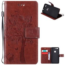 Embossing Butterfly Tree Leather Wallet Case for Google Pixel - Brown