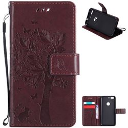 Embossing Butterfly Tree Leather Wallet Case for Google Pixel - Coffee
