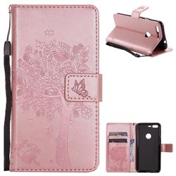 Embossing Butterfly Tree Leather Wallet Case for Google Pixel - Rose Pink