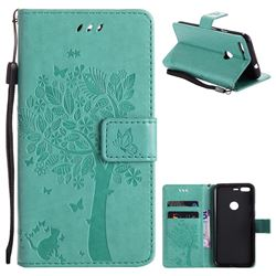 Embossing Butterfly Tree Leather Wallet Case for Google Pixel - Cyan