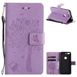 Embossing Butterfly Tree Leather Wallet Case for Google Pixel - Violet
