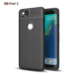 Luxury Auto Focus Litchi Texture Silicone TPU Back Cover for Google Pixel 2 - Black
