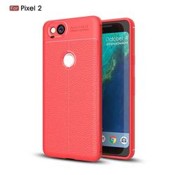 Luxury Auto Focus Litchi Texture Silicone TPU Back Cover for Google Pixel 2 - Red