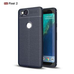 Luxury Auto Focus Litchi Texture Silicone TPU Back Cover for Google Pixel 2 - Dark Blue