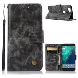 Luxury Retro Leather Wallet Case for Google Pixel 2 - Gray