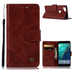 Luxury Retro Leather Wallet Case for Google Pixel 2 - Wine Red