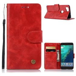 Luxury Retro Leather Wallet Case for Google Pixel 2 - Red