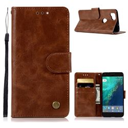 Luxury Retro Leather Wallet Case for Google Pixel 2 - Brown