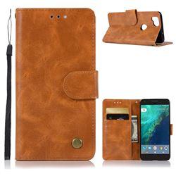 Luxury Retro Leather Wallet Case for Google Pixel 2 - Golden