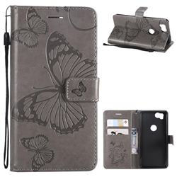 Embossing 3D Butterfly Leather Wallet Case for Google Pixel 2 - Gray