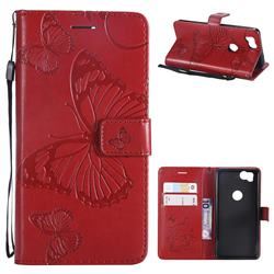 Embossing 3D Butterfly Leather Wallet Case for Google Pixel 2 - Red