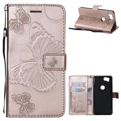 Embossing 3D Butterfly Leather Wallet Case for Google Pixel 2 - Rose Gold