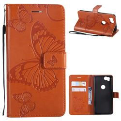 Embossing 3D Butterfly Leather Wallet Case for Google Pixel 2 - Orange