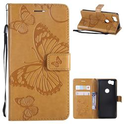Embossing 3D Butterfly Leather Wallet Case for Google Pixel 2 - Yellow