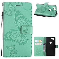 Embossing 3D Butterfly Leather Wallet Case for Google Pixel 2 - Green