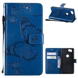 Embossing 3D Butterfly Leather Wallet Case for Google Pixel 2 - Blue