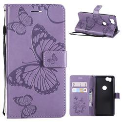 Embossing 3D Butterfly Leather Wallet Case for Google Pixel 2 - Purple
