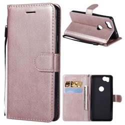 Retro Greek Classic Smooth PU Leather Wallet Phone Case for Google Pixel 2 - Rose Gold