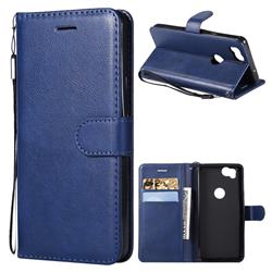 Retro Greek Classic Smooth PU Leather Wallet Phone Case for Google Pixel 2 - Blue