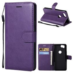Retro Greek Classic Smooth PU Leather Wallet Phone Case for Google Pixel 2 - Purple