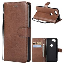 Retro Greek Classic Smooth PU Leather Wallet Phone Case for Google Pixel 2 - Brown