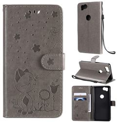 Embossing Bee and Cat Leather Wallet Case for Google Pixel 2 - Gray
