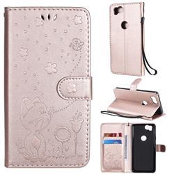 Embossing Bee and Cat Leather Wallet Case for Google Pixel 2 - Rose Gold