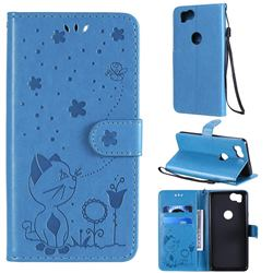 Embossing Bee and Cat Leather Wallet Case for Google Pixel 2 - Blue