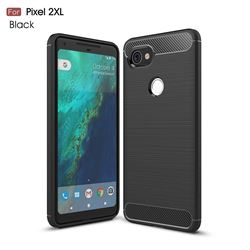 Luxury Carbon Fiber Brushed Wire Drawing Silicone TPU Back Cover for Google Pixel 2 XL (Black)