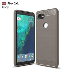Luxury Carbon Fiber Brushed Wire Drawing Silicone TPU Back Cover for Google Pixel 2 XL (Gray)