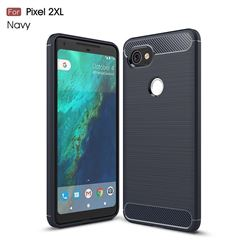Luxury Carbon Fiber Brushed Wire Drawing Silicone TPU Back Cover for Google Pixel 2 XL (Navy)