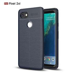 Luxury Auto Focus Litchi Texture Silicone TPU Back Cover for Google Pixel 2 XL - Dark Blue