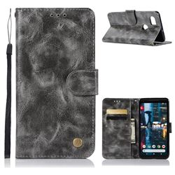 Luxury Retro Leather Wallet Case for Google Pixel 2 XL - Gray