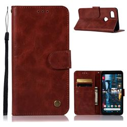 Luxury Retro Leather Wallet Case for Google Pixel 2 XL - Wine Red