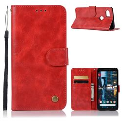 Luxury Retro Leather Wallet Case for Google Pixel 2 XL - Red