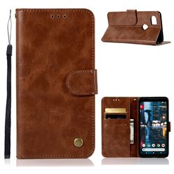 Luxury Retro Leather Wallet Case for Google Pixel 2 XL - Brown