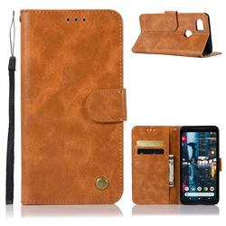 Luxury Retro Leather Wallet Case for Google Pixel 2 XL - Golden