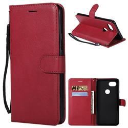 Retro Greek Classic Smooth PU Leather Wallet Phone Case for Google Pixel 2 XL - Red