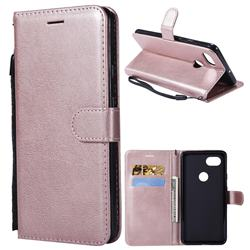 Retro Greek Classic Smooth PU Leather Wallet Phone Case for Google Pixel 2 XL - Rose Gold