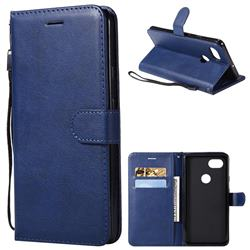 Retro Greek Classic Smooth PU Leather Wallet Phone Case for Google Pixel 2 XL - Blue