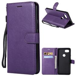 Retro Greek Classic Smooth PU Leather Wallet Phone Case for Google Pixel 2 XL - Purple