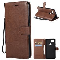 Retro Greek Classic Smooth PU Leather Wallet Phone Case for Google Pixel 2 XL - Brown