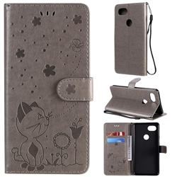 Embossing Bee and Cat Leather Wallet Case for Google Pixel 2 XL - Gray