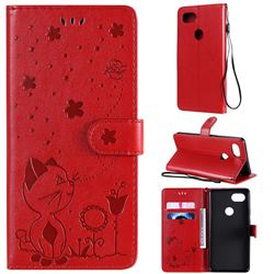 Embossing Bee and Cat Leather Wallet Case for Google Pixel 2 XL - Red