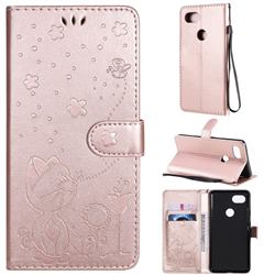 Embossing Bee and Cat Leather Wallet Case for Google Pixel 2 XL - Rose Gold
