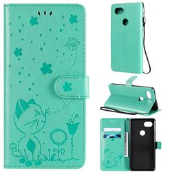 Embossing Bee and Cat Leather Wallet Case for Google Pixel 2 XL - Green