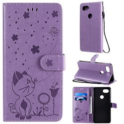Embossing Bee and Cat Leather Wallet Case for Google Pixel 2 XL - Purple